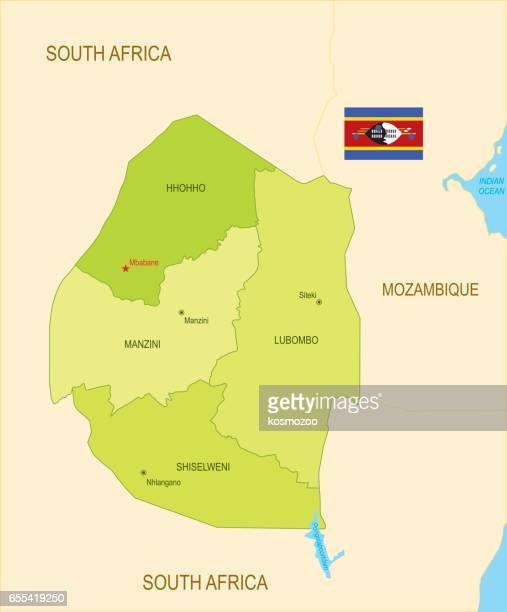flat map of swaziland with flag - eswatini stock illustrations, clip art, cartoons, & icons
