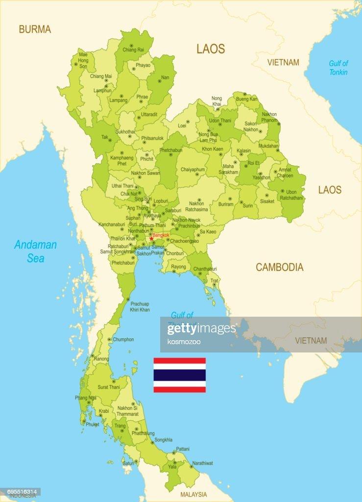 Vlakke kaart van Thailand met vlag : Stockillustraties