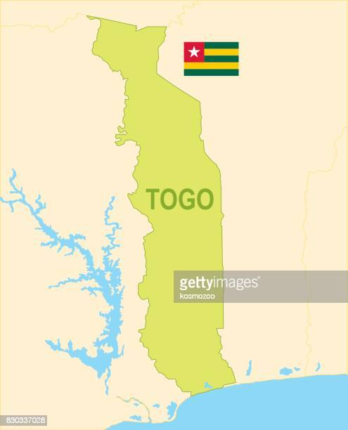 flat map of togo with flag - togo stock illustrations, clip art, cartoons, & icons
