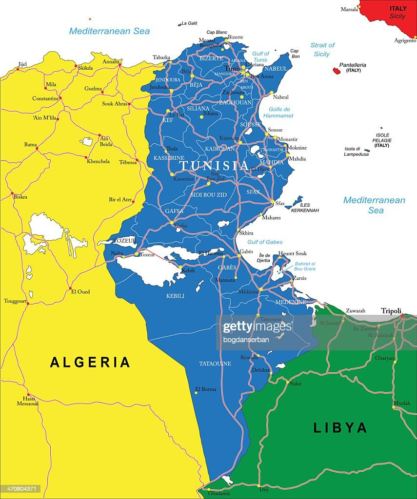 Flat map of Tunisia and neighbor countries