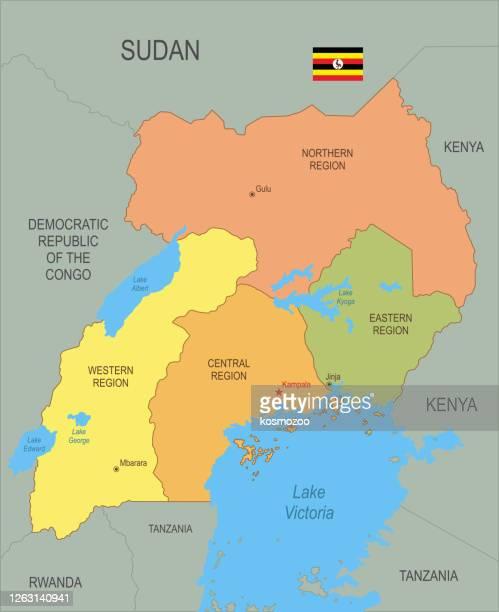 flat map of uganda with flag - uganda stock illustrations