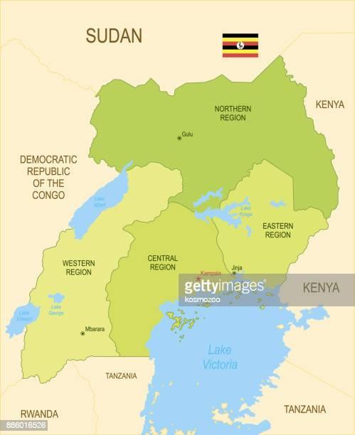 フラグとウガンダの平らな地図 - ウガンダ点のイラスト素材/クリップアート素材/マンガ素材/アイコン素材