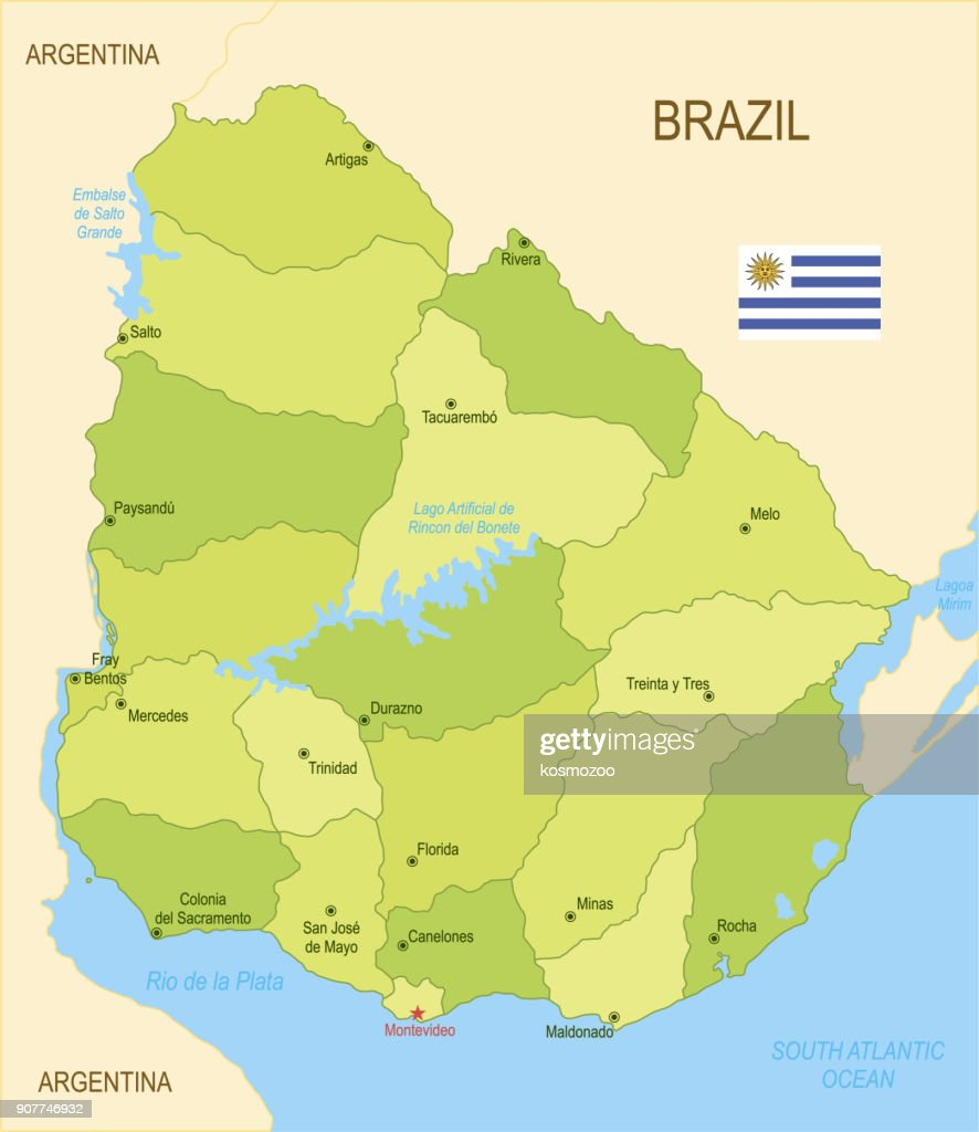 Flat map of Uruguay with flag