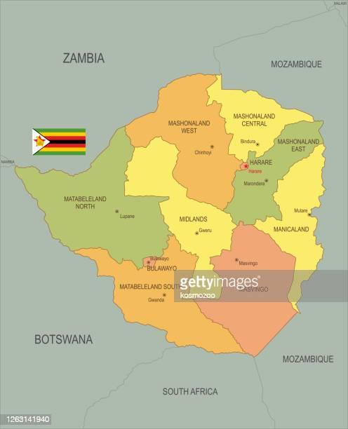 ジンバブエの旗付きフラットマップ - ジンバブエ点のイラスト素材/クリップアート素材/マンガ素材/アイコン素材
