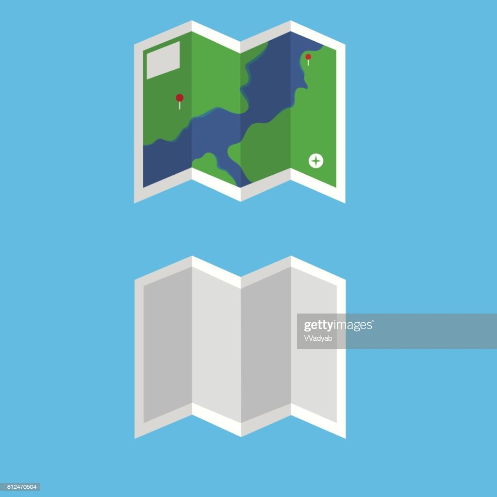 Flat map vector set.Map with detail and unfold vector.Travel map on blue background.blank map vector