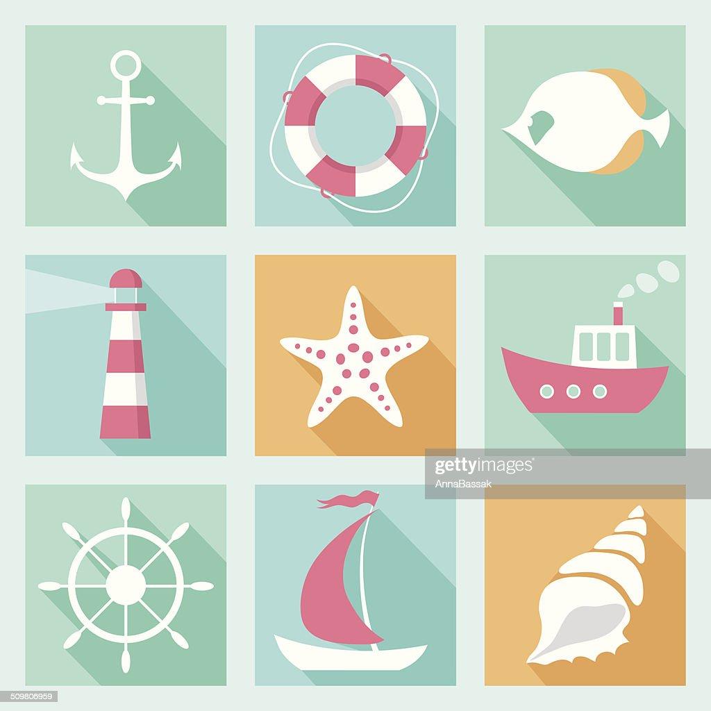Flat marine icons set