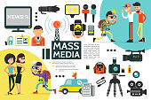 Flat Mass Media Infographic Template