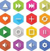 Flat media icon 16 set hexagon web button