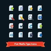 Flat media type icons set