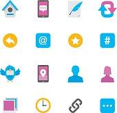 Flat Microblog & Social Media icons   Simpletoon series