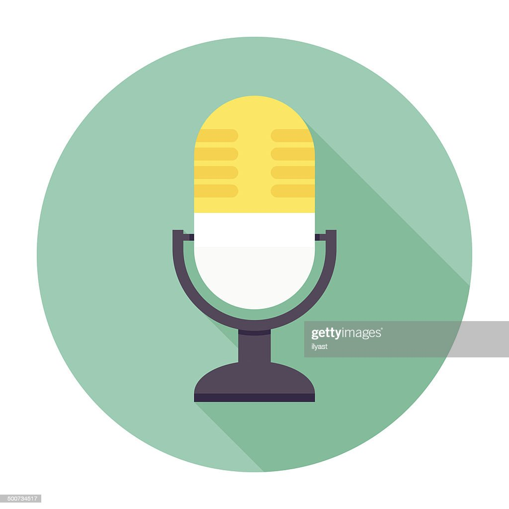 Flat Microphone Icon : stock illustration