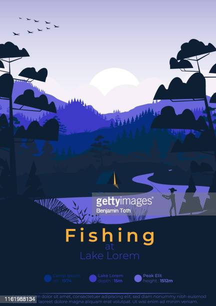 flat minimal fishing poster with pine forest, and mountains - woodland stock illustrations