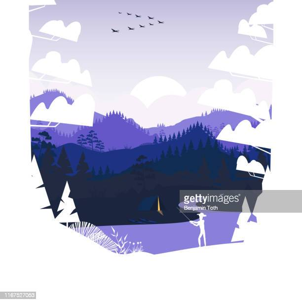 flat minimal fishing scene in the mountains with pine forest and summer camp - mountain logo stock illustrations