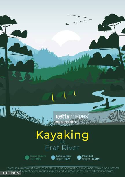 松林と山々とフラットミニマルカヤックポスター。 - 河川点のイラスト素材/クリップアート素材/マンガ素材/アイコン素材