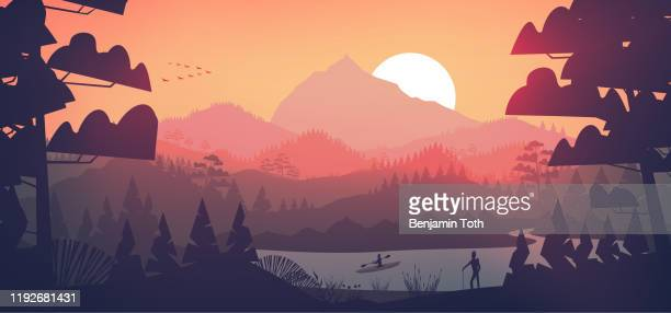 flat minimal lake with pine forest, and mountains at sunset - horizontal stock illustrations