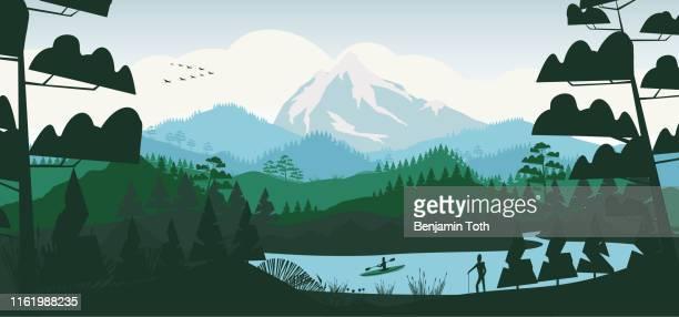 松林と山々の平坦な最小限の湖 - アウトドア点のイラスト素材/クリップアート素材/マンガ素材/アイコン素材