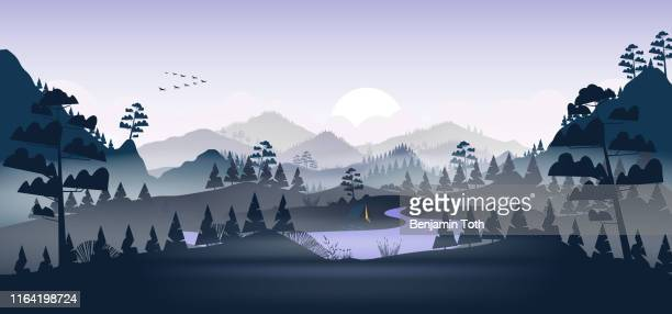 flat minimal lake with pine forest, and mountains - woodland stock illustrations