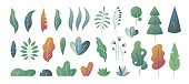 Flat minimal leaves. Fantasy colors gradation, leaves bushes and trees design templates, nature gradient plants. Vector cute leaves