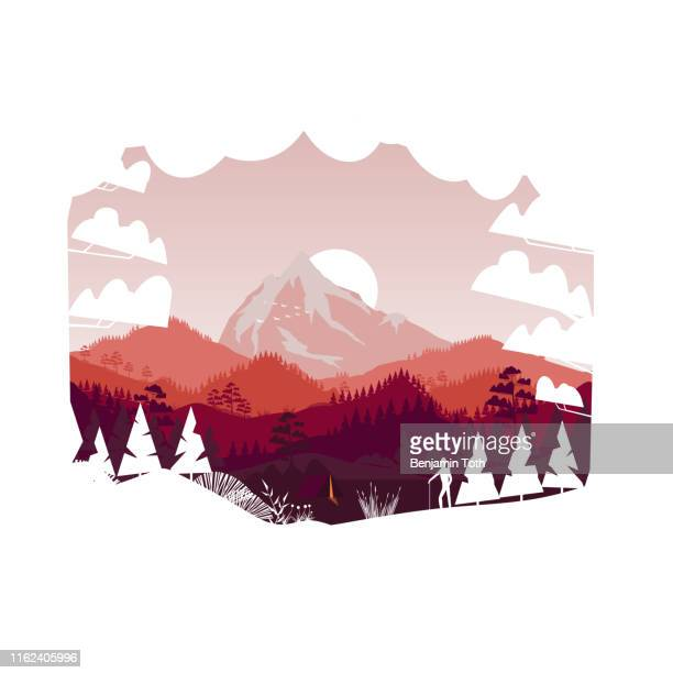 flat minimal mountains with pine forest and summer camp - mountain logo stock illustrations