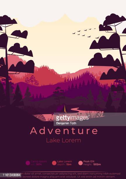 flat minimal summer camp poster with pine forest, and mountains - adventure stock illustrations