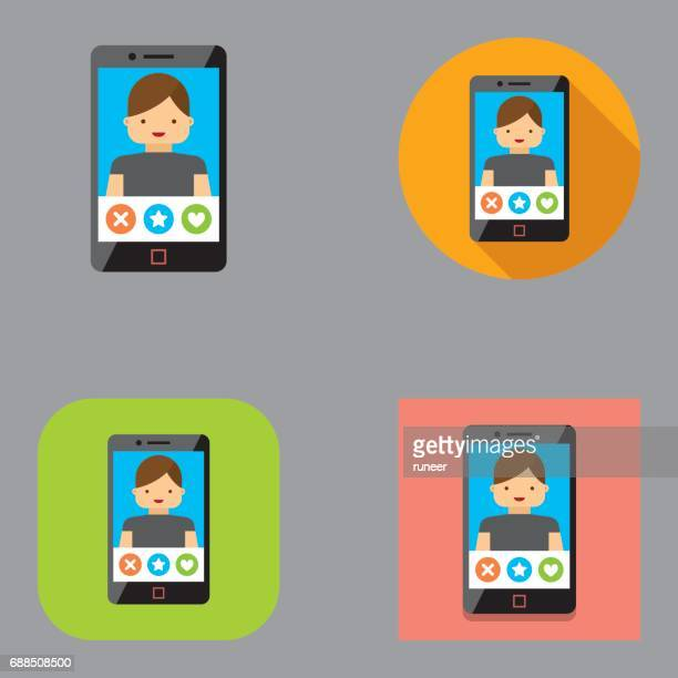 Flat Mobile Dating icons (Male) | Kalaful series