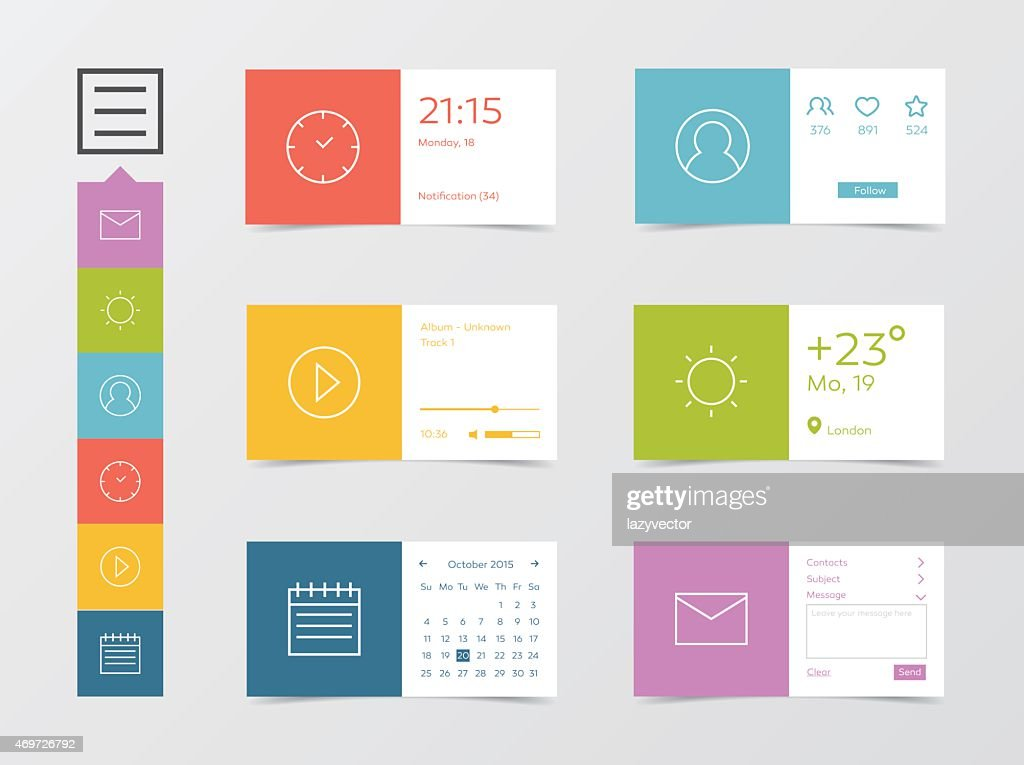 Flat mobile web user interface labels and icons in color