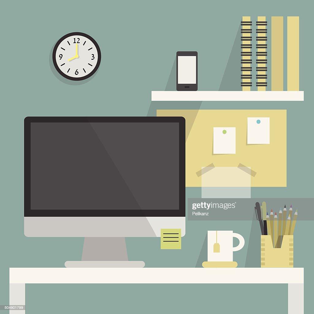 Flat, modern, and stylish working place