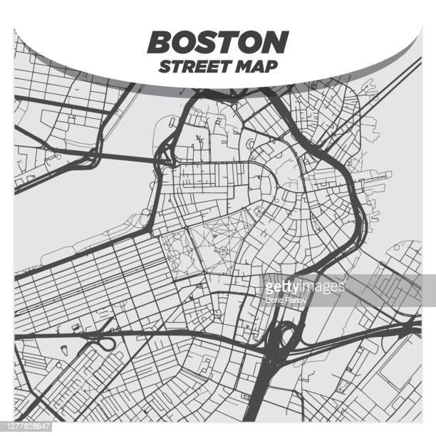 フラット モダン シティ ストリート マップ ダウンタウン ボストン とその周辺 - フラットデザイン 街点のイラスト素材/クリップアート素材/マンガ素材/アイコン素材