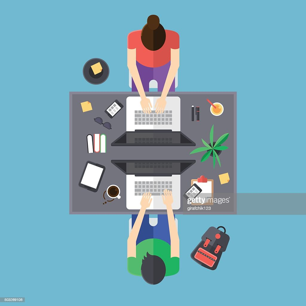 Flat modern design of office with people working