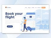 Flat Modern design of website template - Book your flight