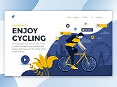 Flat Modern design of website template - Enjoy Cycling