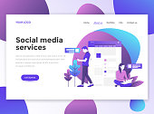 Flat Modern design of website template - Social Media Services