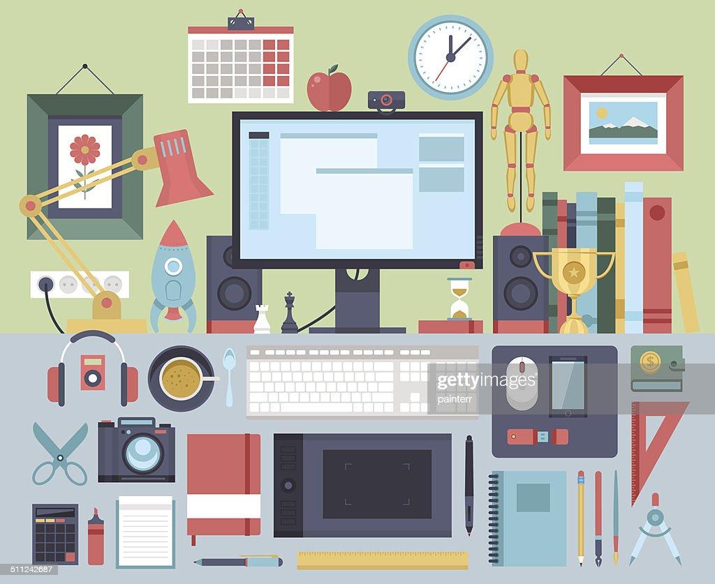 Flat modern design vector illustration concept of creative office workspace,