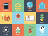Flat modern icons for education and professions