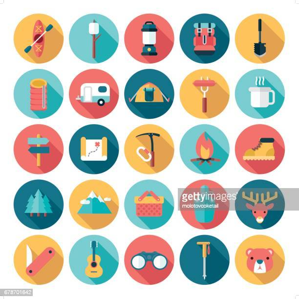 flat modern outdoor activities icon set