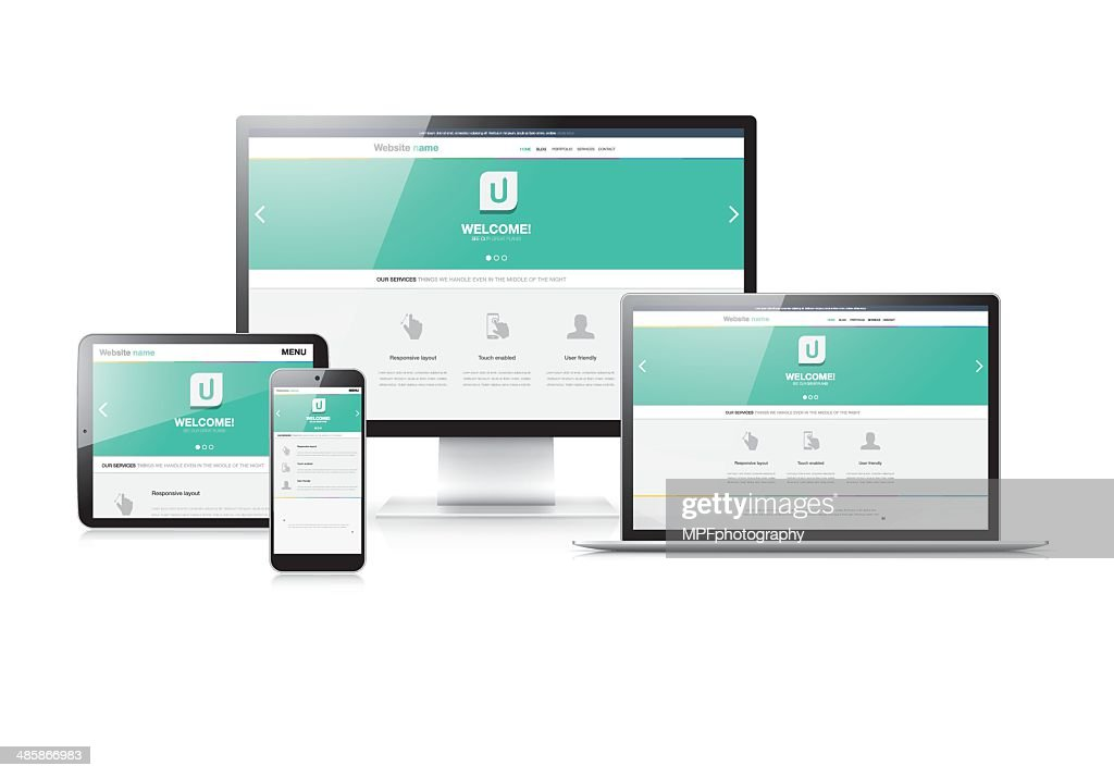 Flat modern responsive web design in electronic devices