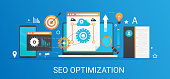Flat modern vector concept Seo optimization and analytics banner with icons and text.