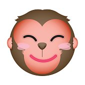 Flat monkey happy emoticon. Isolated vector illustration on white background