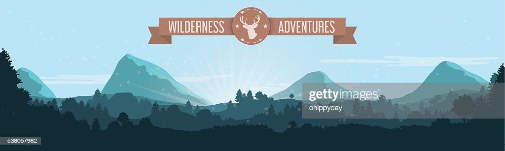 Flat Mountain Treeline Landscape with Ribbon and Deer Logo