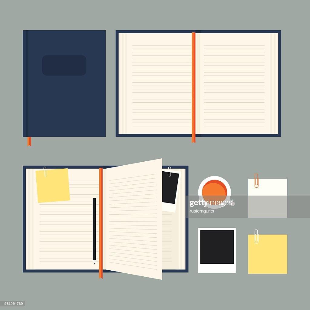 Conjunto de caderno plana : Ilustração