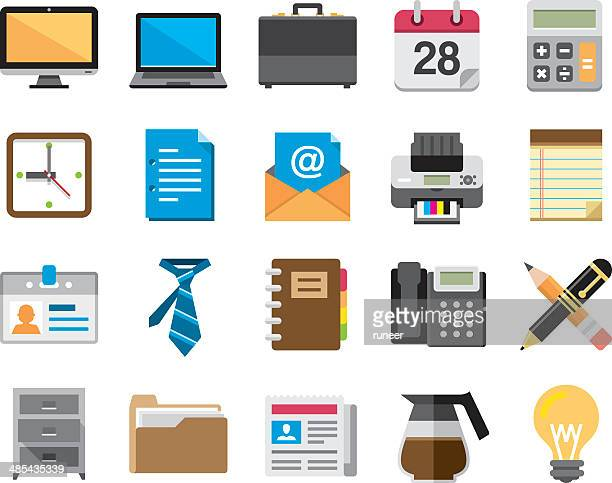 flat office and business icons | kalaful series - printout stock illustrations