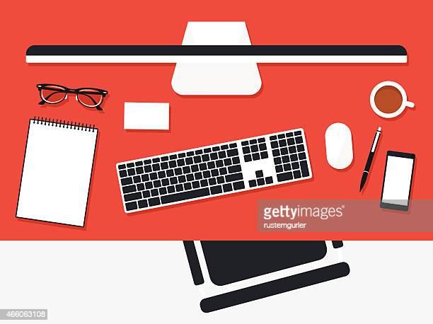 flat office desk - electronic organizer stock illustrations, clip art, cartoons, & icons