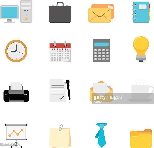 flat office icons | simpletoon series - post it stock illustrations, clip art, cartoons, & icons