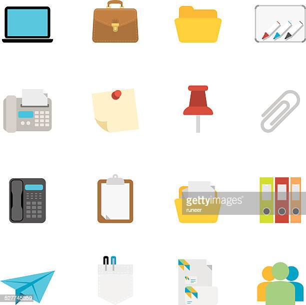 flat office icons | simpletoon series - thumbtack stock illustrations, clip art, cartoons, & icons