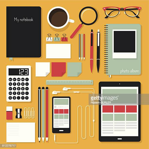 flat office tools - paper clip stock illustrations, clip art, cartoons, & icons