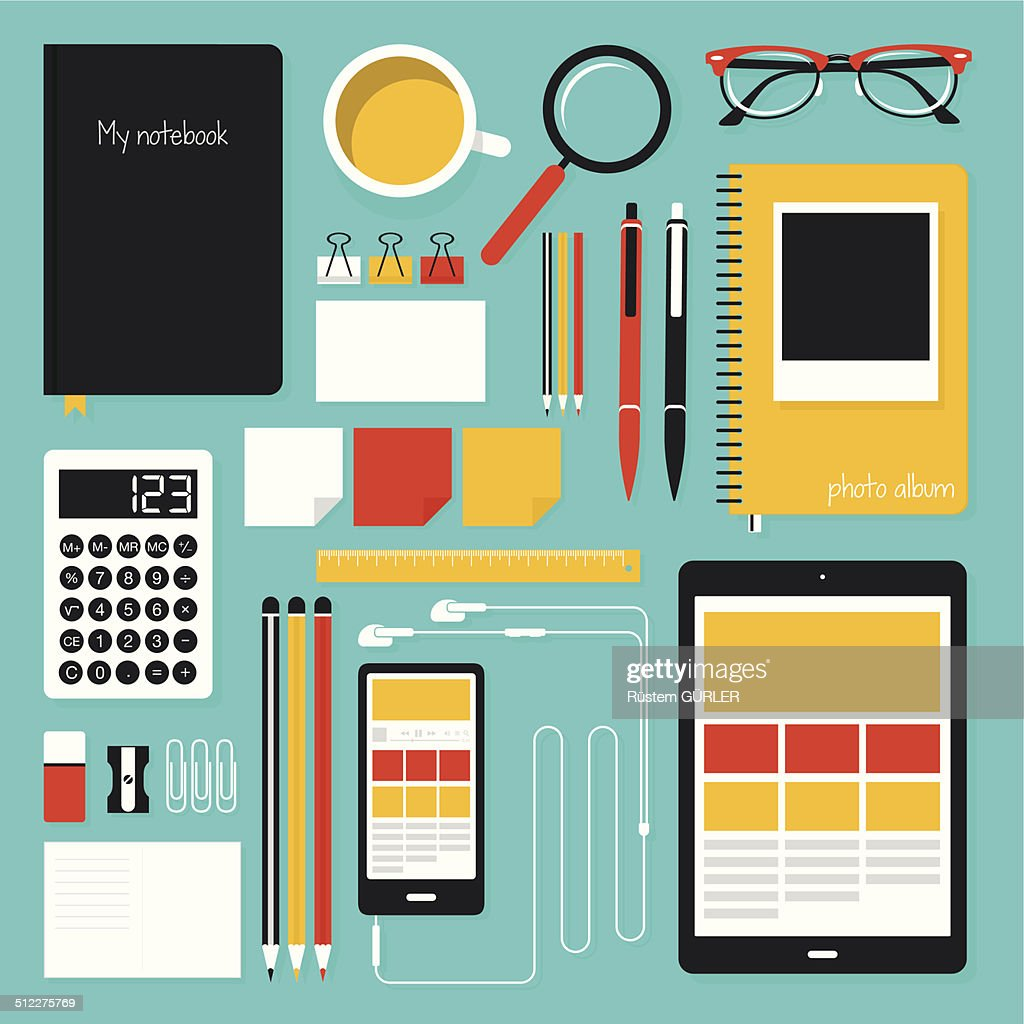 Flat Office Tools : stock illustration