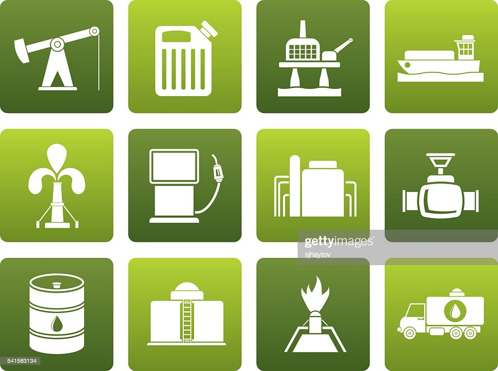 Flat Oil and petrol industry icons