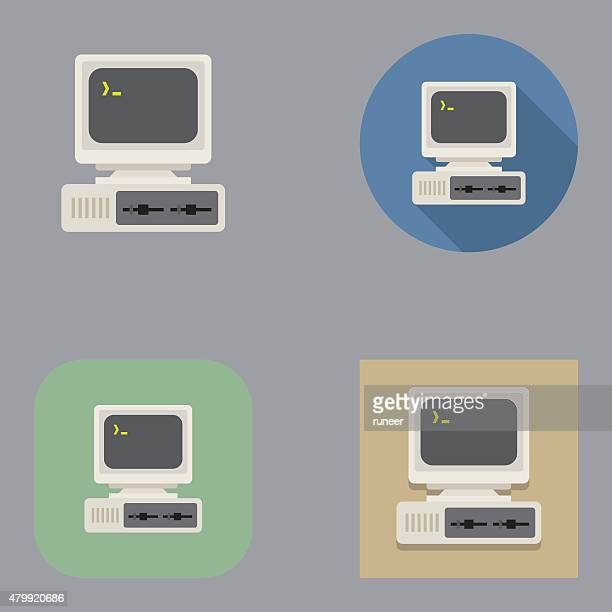 flat old vintage computer icons | kalaful series - computer stock illustrations