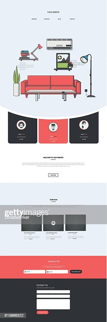 Flat One page website design template with flat interior.
