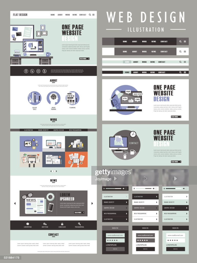 flat one page website template design